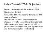 italy towards 2020 objectives