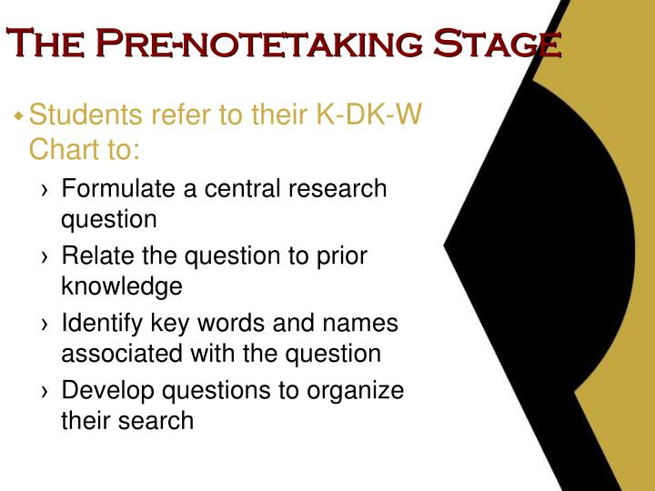 The Pre-notetaking Stage