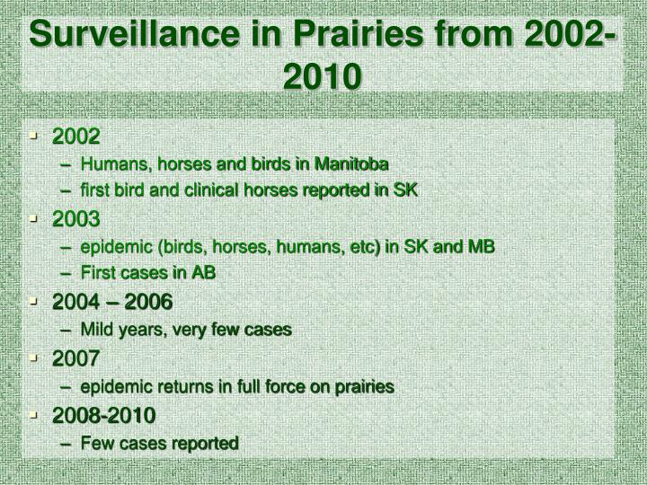 Surveillance in Prairies from 2002-2010