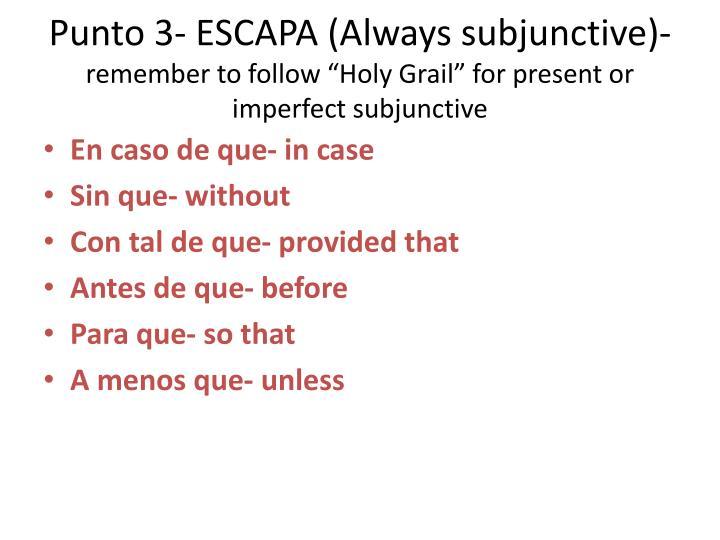 Punto 3- ESCAPA (Always subjunctive)-