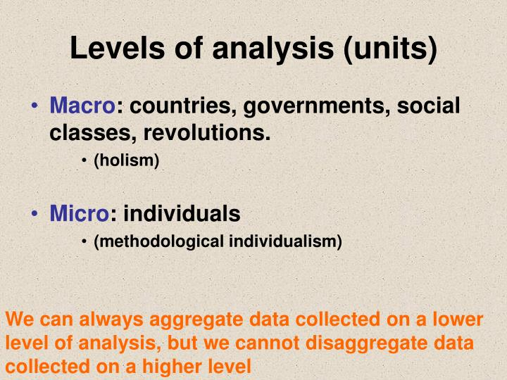 Levels of analysis (units)