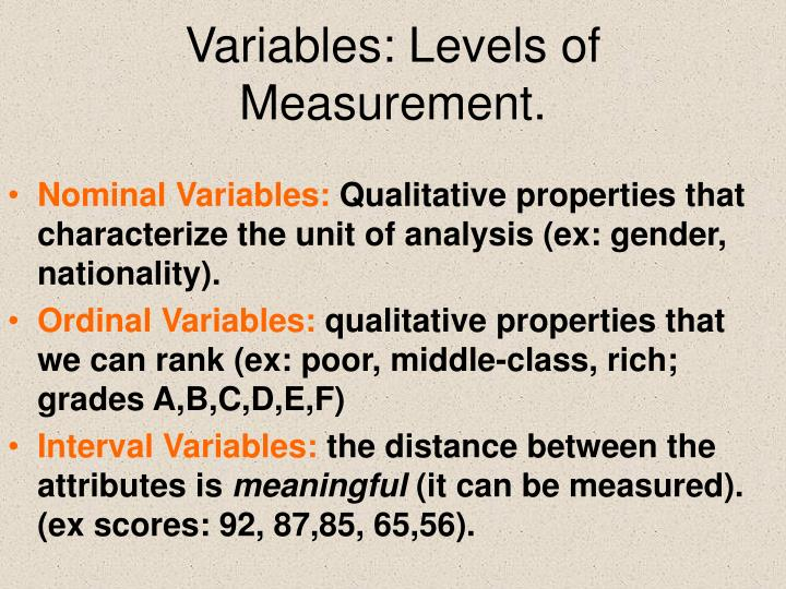 Variables: Levels of Measurement.