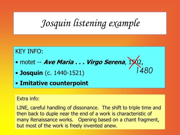Josquin listening example