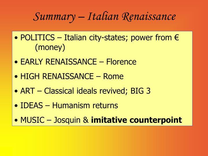 Summary – Italian Renaissance