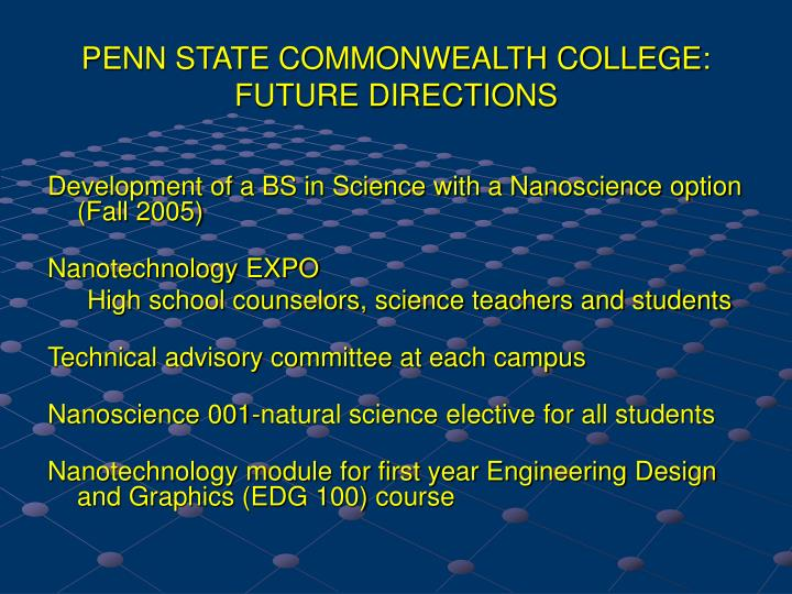 PENN STATE COMMONWEALTH COLLEGE: