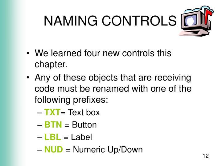 NAMING CONTROLS
