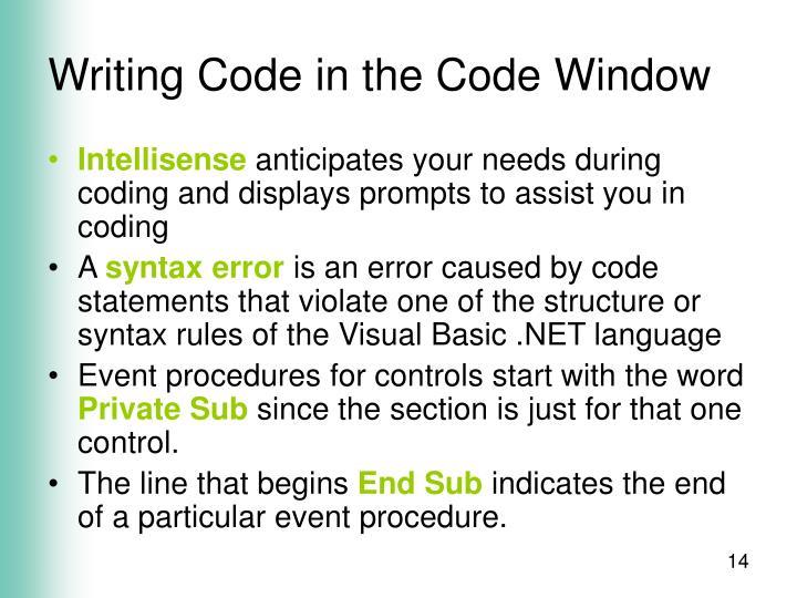 Writing Code in the Code Window