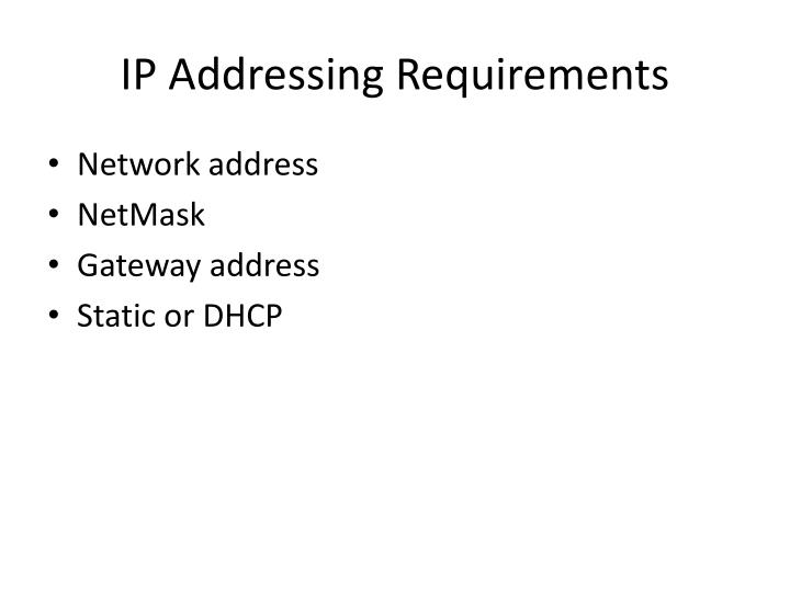 Ip addressing requirements