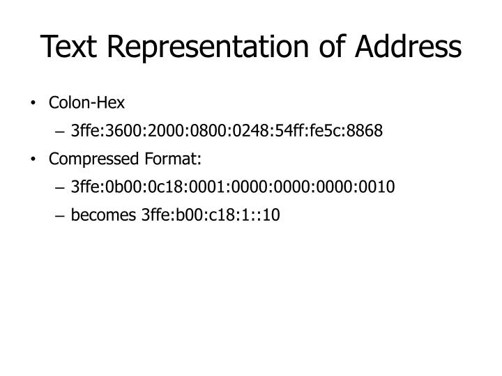 Text Representation of Address
