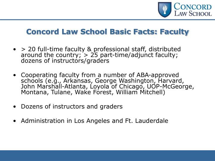 Concord Law School Basic Facts: Faculty