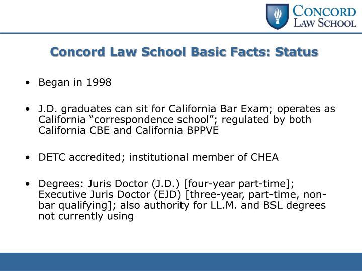 Concord Law School Basic Facts: Status