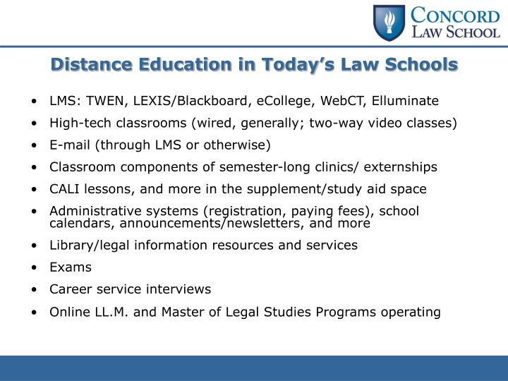 Distance Education in Today's Law Schools