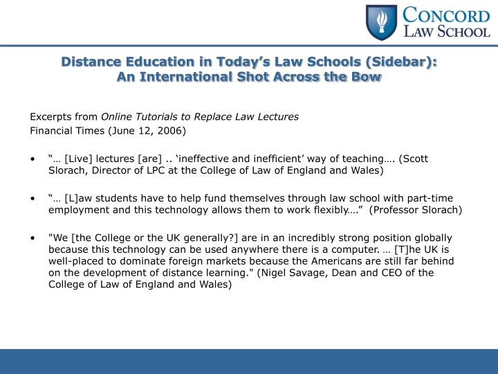 Distance Education in Today's Law Schools (Sidebar):