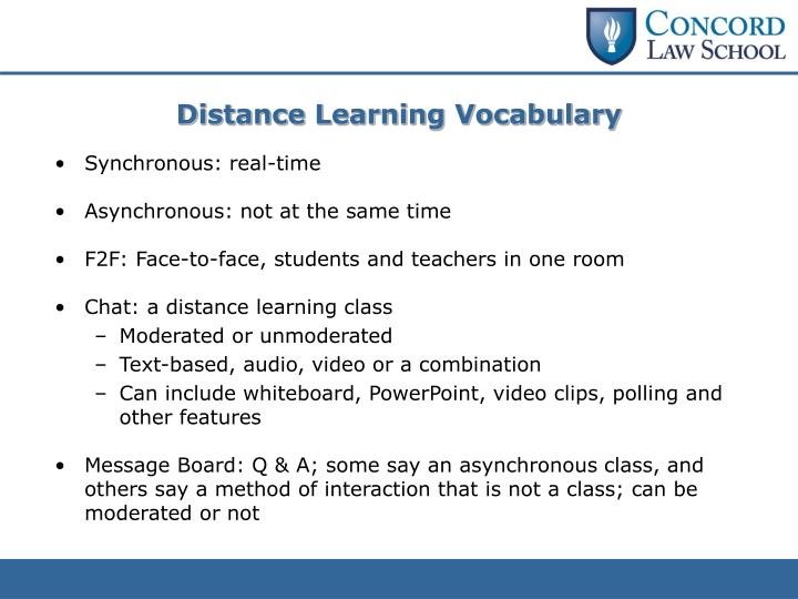 Distance Learning Vocabulary