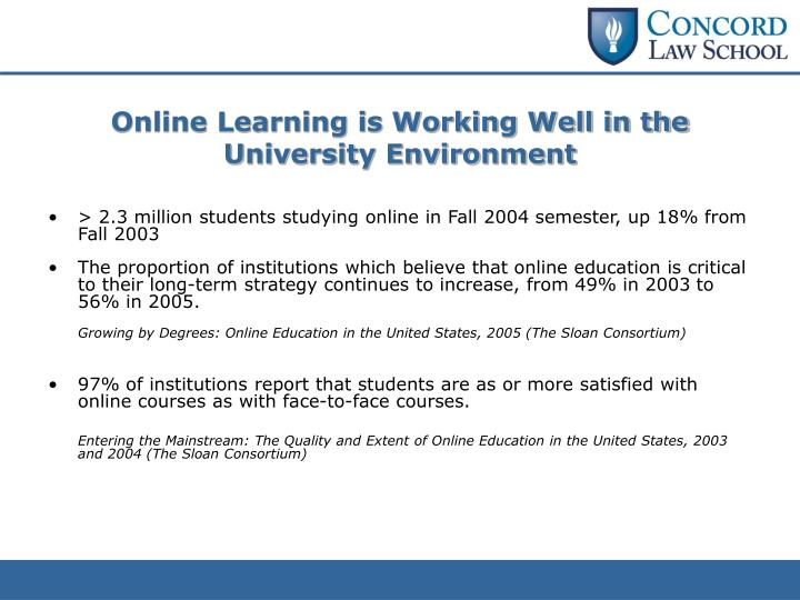 Online Learning is Working Well in the University Environment