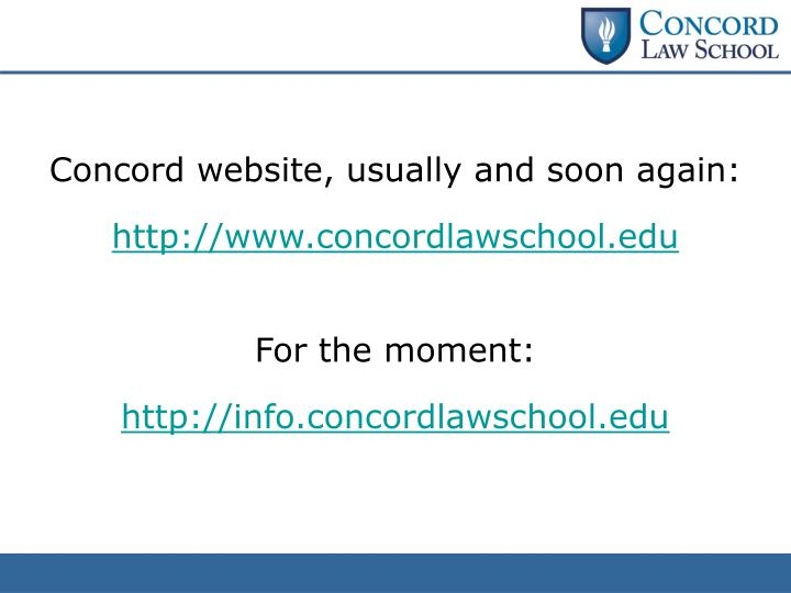 Concord website, usually and soon again: