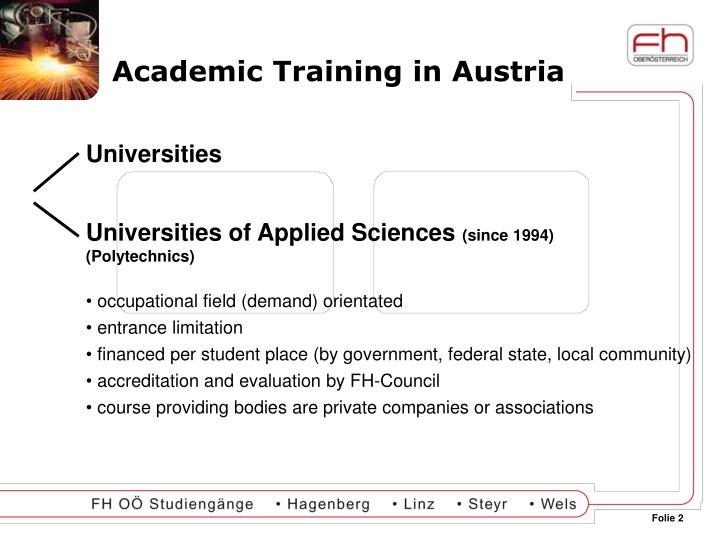 Academic training in austria