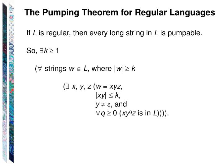 The Pumping Theorem for Regular Languages
