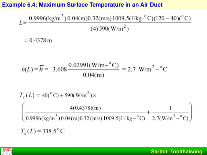 Example 6.4: Maximum Surface Temperature in an Air Duct