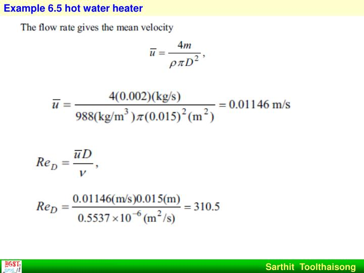Example 6.5 hot water heater
