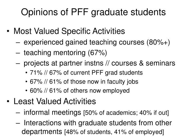 Opinions of PFF graduate students