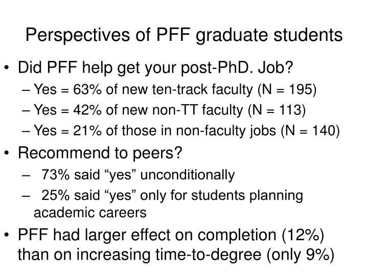 Perspectives of PFF graduate students