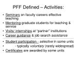 pff defined activities