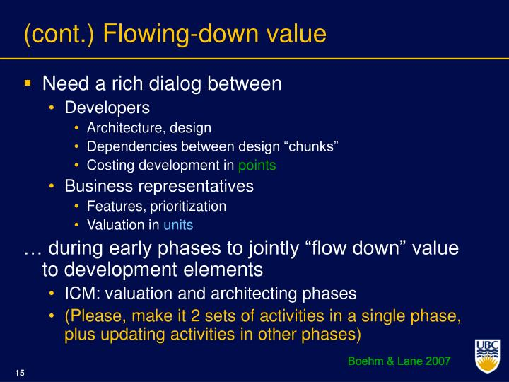 (cont.) Flowing-down value