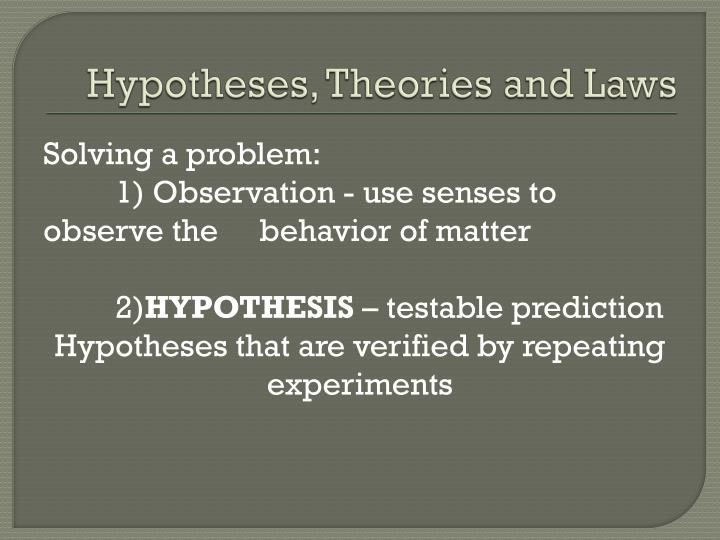 Hypotheses, Theories and Laws