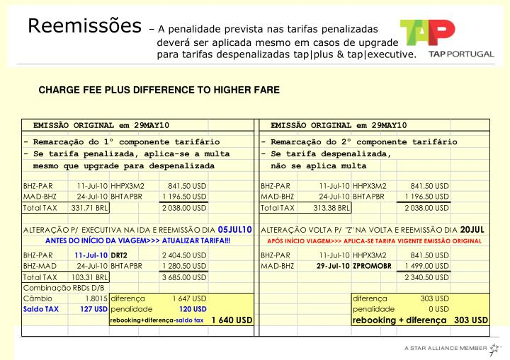 CHARGE FEE PLUS DIFFERENCE TO HIGHER FARE