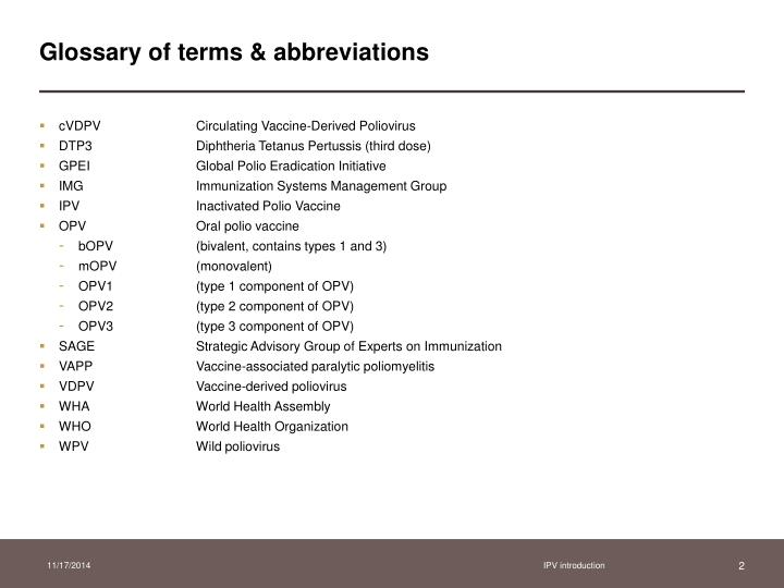 Glossary of terms abbreviations