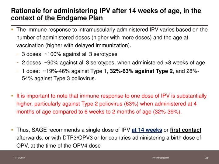 Rationale for administering IPV after 14 weeks of age, in the context of the Endgame Plan