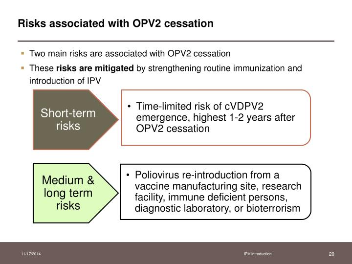 Risks associated with OPV2 cessation
