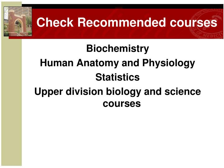 Check Recommended courses