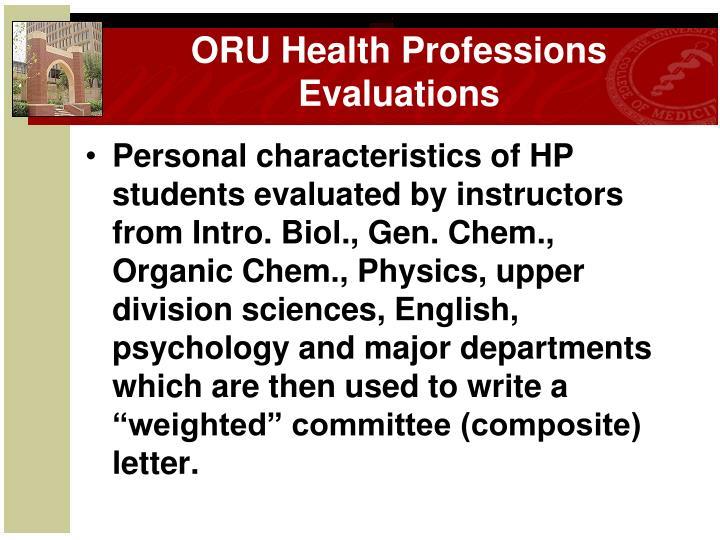 ORU Health Professions Evaluations