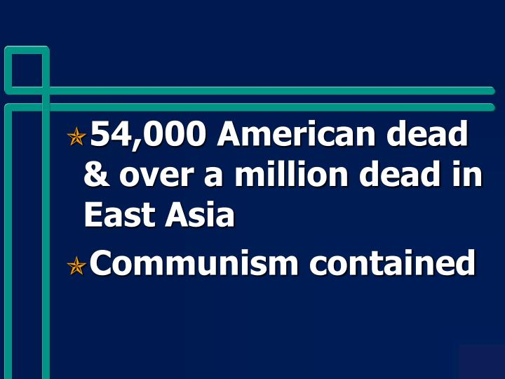 54,000 American dead & over a million dead in East Asia