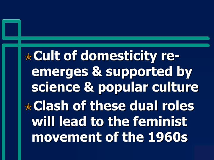 Cult of domesticity re-emerges & supported by science & popular culture