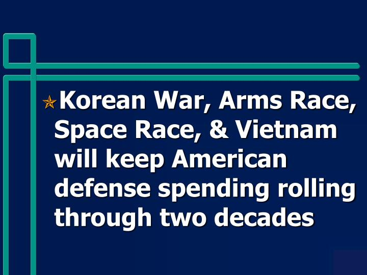 Korean War, Arms Race, Space Race, & Vietnam will keep American defense spending rolling through two decades