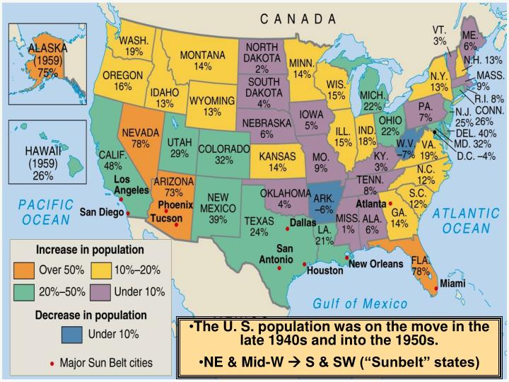 The U. S. population was on the move in the late 1940s and into the 1950s.