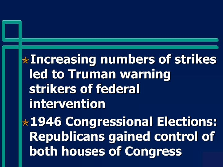 Increasing numbers of strikes led to Truman warning strikers of federal intervention