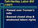 taft hartley labor bill 1947