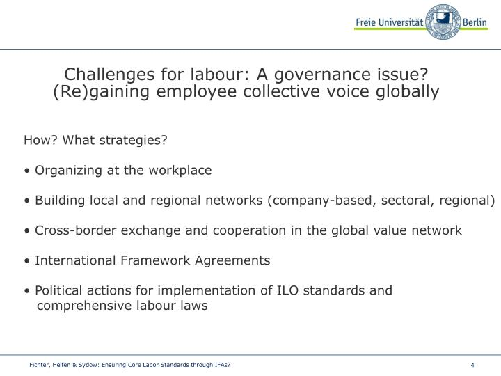 Challenges for labour: A governance issue?