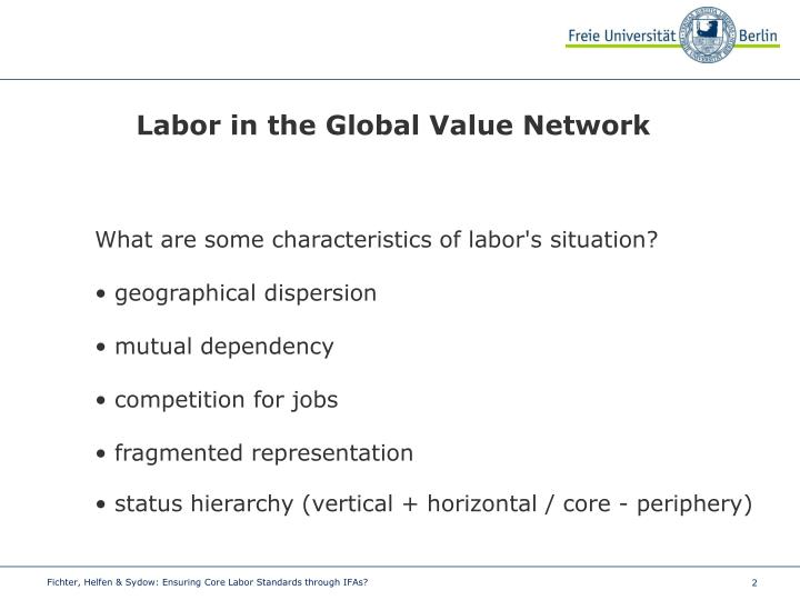 Labor in the Global Value Network