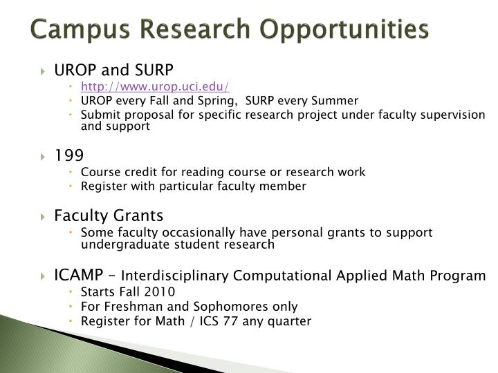 Campus Research Opportunities