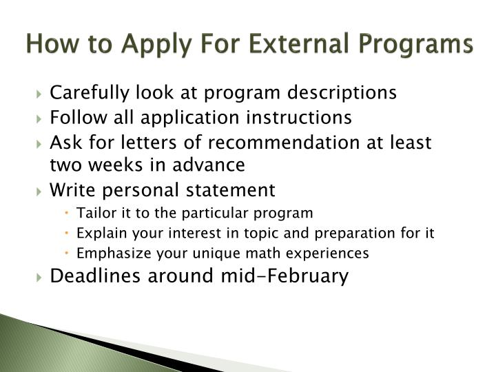How to Apply For External Programs
