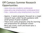 off campus summer research opportunities