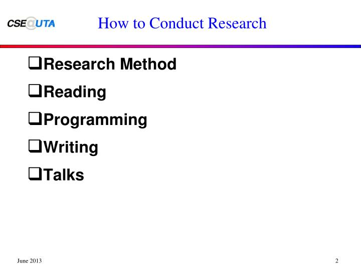 How to Conduct Research