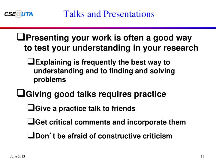 Talks and Presentations