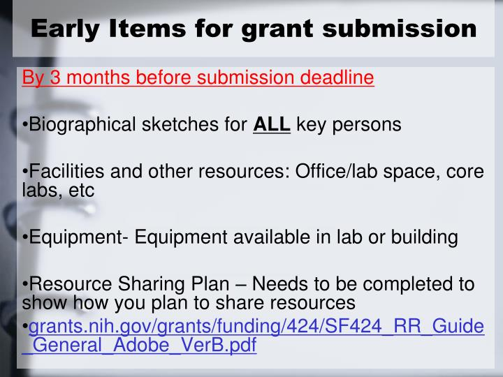 Early Items for grant submission