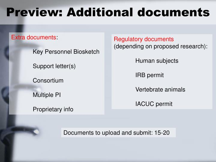 Preview: Additional documents